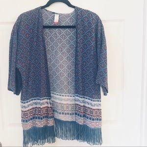 💍Kimono!!! Blue fringe with Aztec design